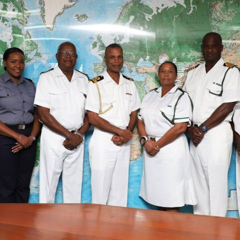 Commander Defence Force Commodore Tellis Bethel and his Command Team along with Officers and Senior Enlisted at the Defence Force Headquarters. They all had encouraging words for Force Chief Petty Officer Idamae Ferguson