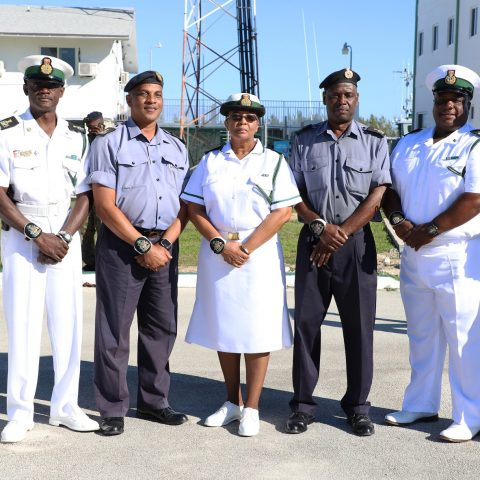 The RBDF Warrant Officers showing their support for their comrade, Force Chief Petty Officer Idamae Ferguson who retired after 33 years of committed service at the Royal Bahamas Defence Force.