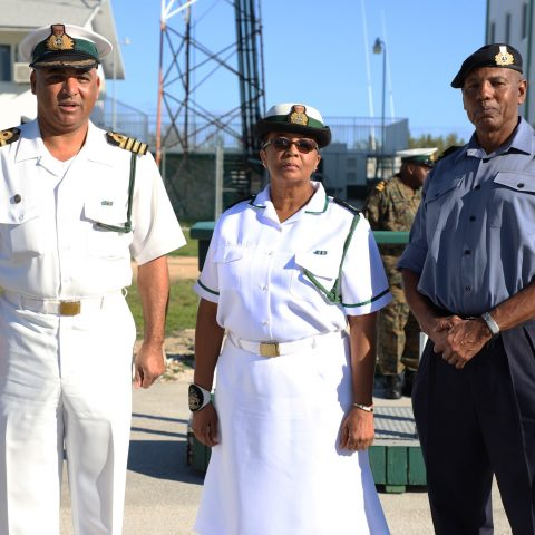 From left: Captain Adrian Chriswell, Captain Coral Harbour (Acting); Force Chief Petty Officer Idamae Ferguson; and Commander Michael Sweeting, Base Executive Officer.