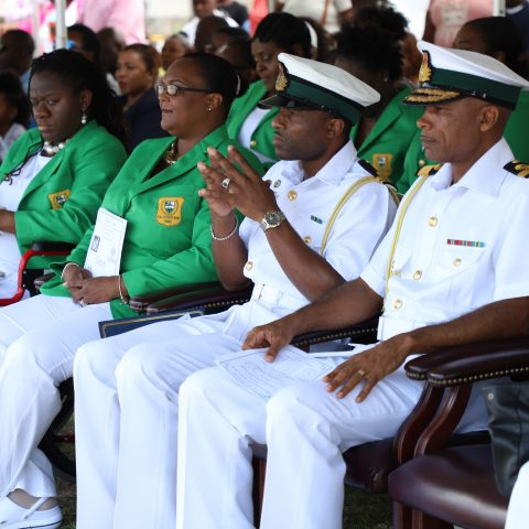 Commander Defence Force Commodore Tellis Bethel, Rangers Director Lieutenant Delvonne Duncombe and Rangers Parents-in-Action officers during the Passing Out Parade Ceremony at the Defence Force's Coral Harbour Base.