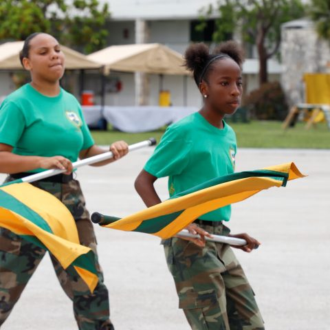 The RBDF Flagettes performing during the Passing Out Parade Ceremony at the Defence Force's Coral Harbour Base.