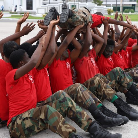 The Rangers Physical Fitness team performing a physical routine demonstration at the Defence Force's Coral Harbour Base.