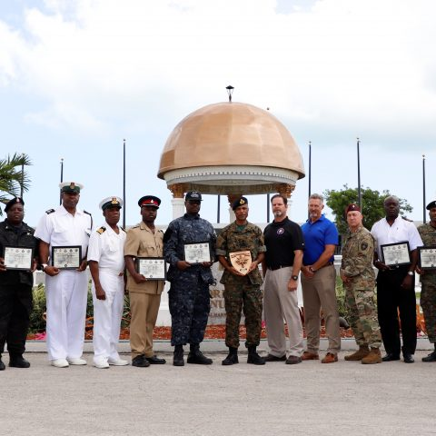Government agencies which were recognized for their participation during the closing ceremony of a Joint Combined Exercise Training exercise at the Defence Force Base on May 24th. They include representatives from the Royal Bahamas Defence Force, Office of the Defence Corporation of the US Embassy, Police Force and Bahamas Customs Excise.