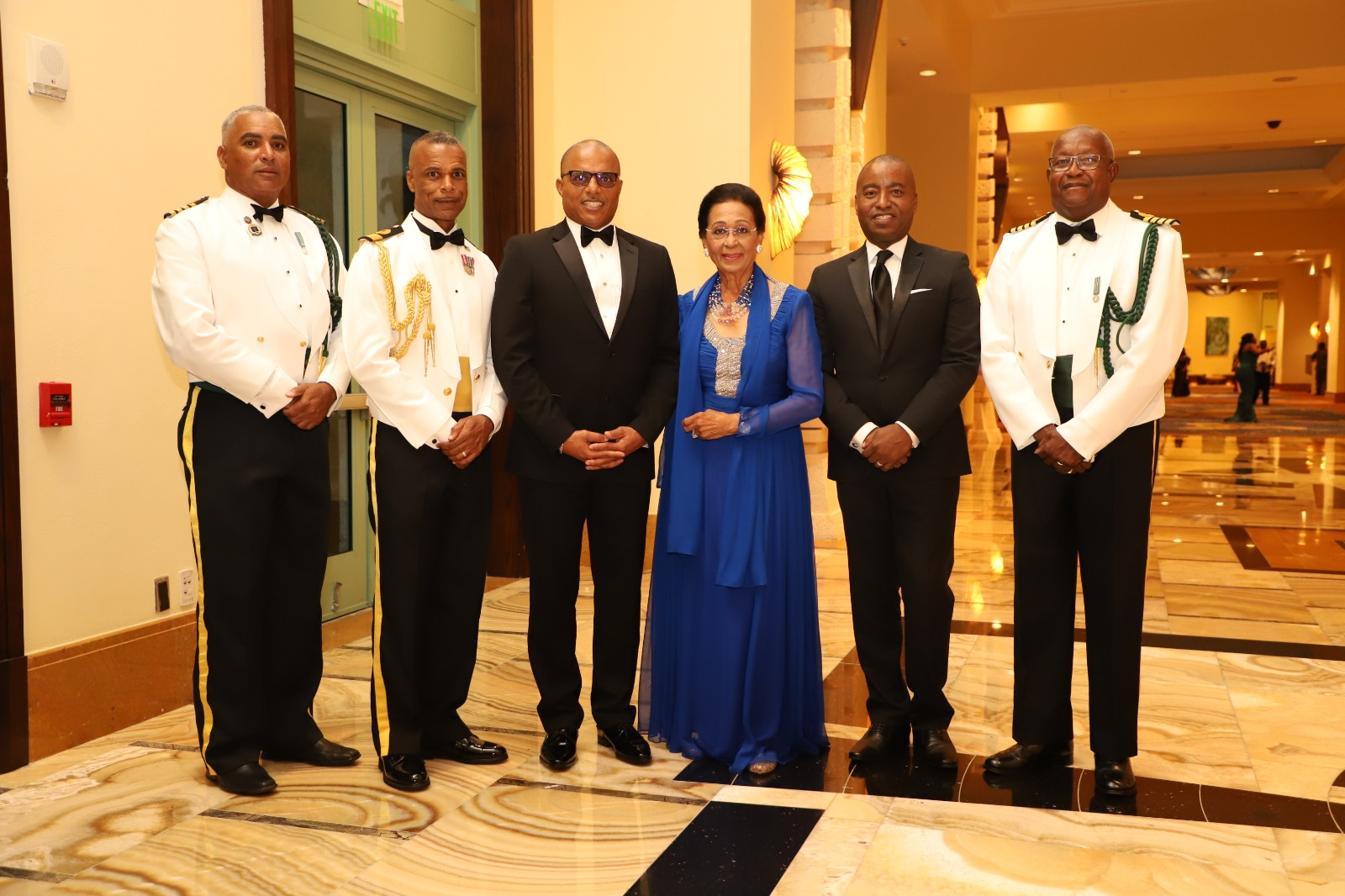 From left: Captain Coral Harbour (Acting), Captain Adrian Chriswell; The Commander Defence Force Commodore Tellis Bethel; the Minister of National Security The Honorable Marvin Dames, the Most Honourable Marguerite Pindling; the Minister of Foreign Affairs, the Honourable Darren Henfield; and Principal Officer, Administration Officer of Commander Defence Force, Captain Clyde Sawyer.