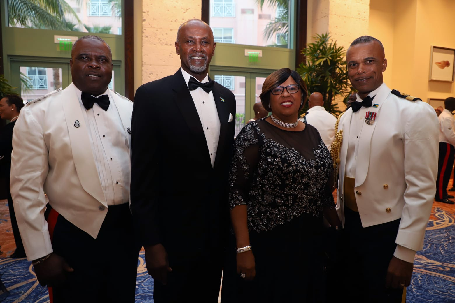 From left: Commissioner of Police Anthony Ferguson; Retired Commodore Davey Rolle and Mrs. Rolle and Commander Defence Force Commodore Tellis Bethel.