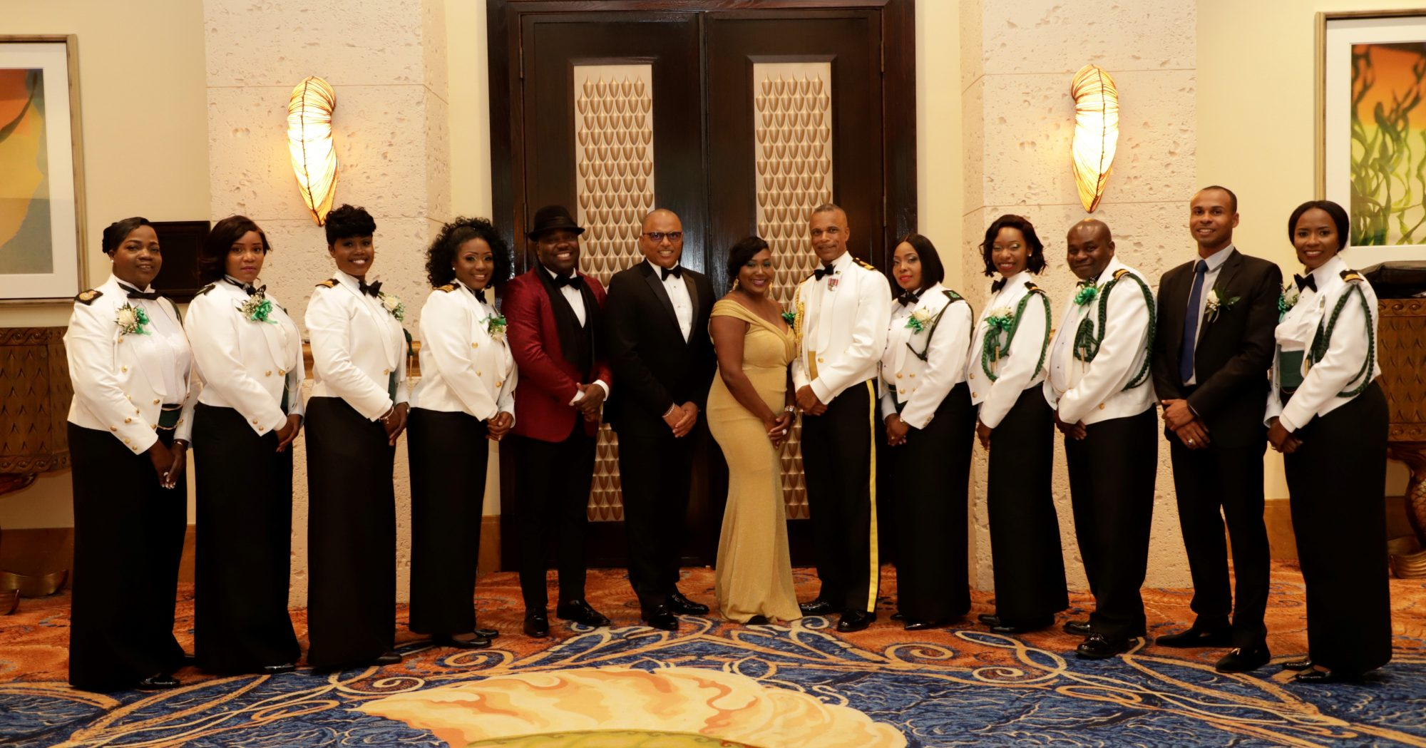 Commodore Tellis Bethel; The Honorable Marvin Dames; Lieutenant Commander Sonia Miller, Chairperson of the RBDF Military Ball and committee members. Also shown is Demetrius Smith, Master of Ceremony for the occasion.