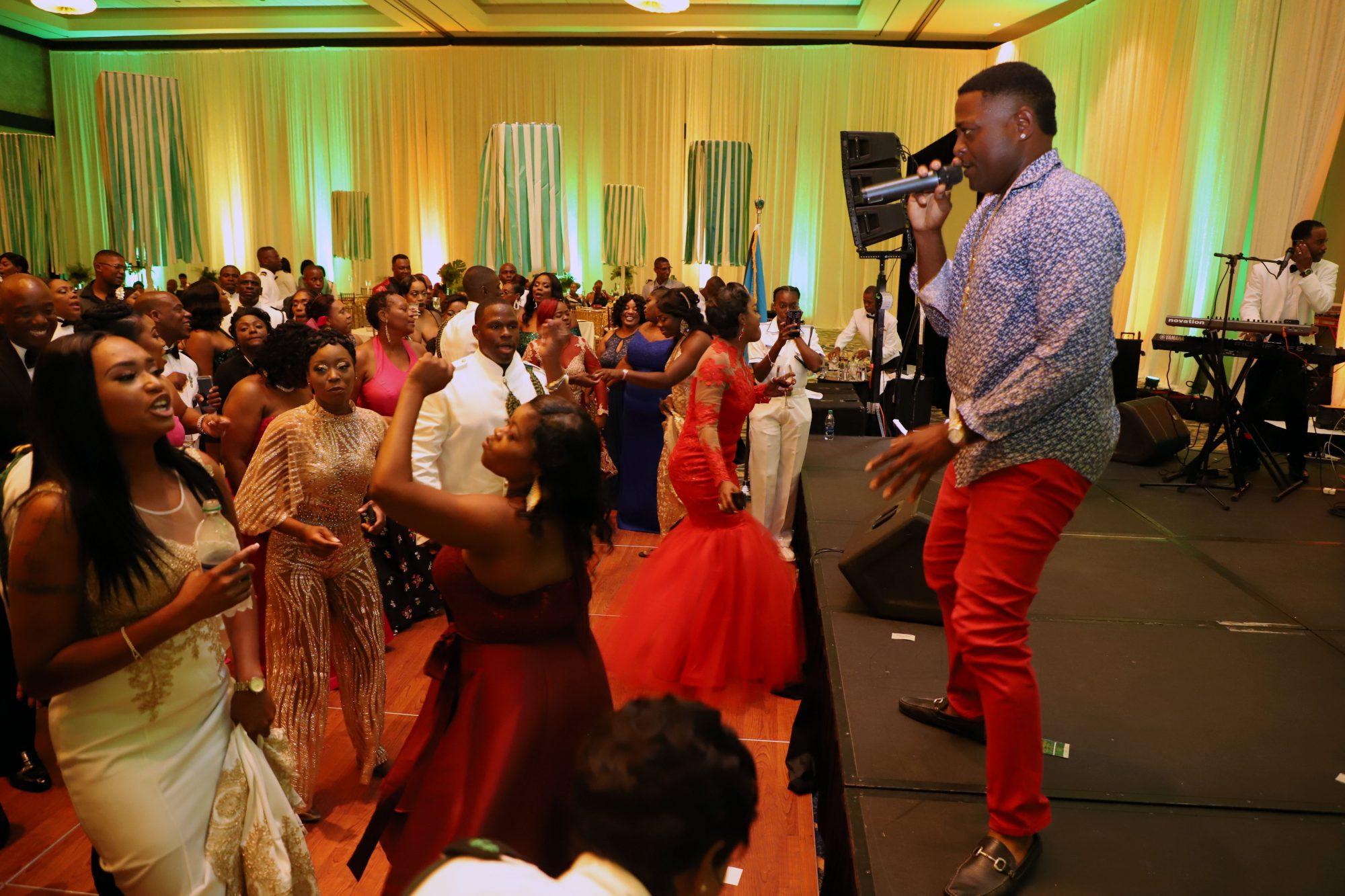 Bahamian singer D-Mac entertaining the crowd at the Annual Military Ball on June 1st