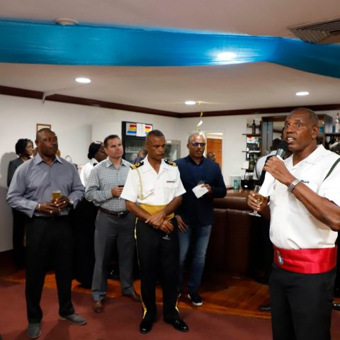 Commander Michael Sweeting Officers Mess President speaking at RBDF Officers post-Independence Cocktail Reception on July 12, 2019.