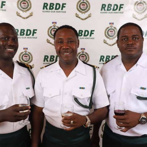 RBDF Officers at the post-Independence Cocktail Reception on July 12, 2019  From Left: Sub Lieutenant Shawn Evans, Lieutenant Livingston Brown and Sub Lieutenant Myran Sands.