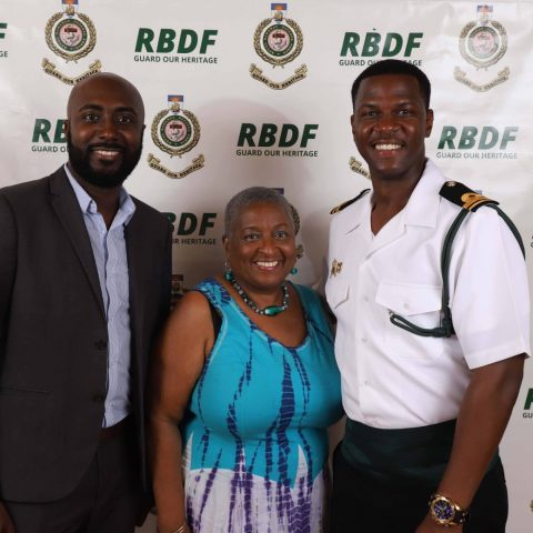 Photo Includes:   Supreme Court Justice Ruth Bowe-Darville & Lieutenant Dominique Rigby at the RBDF Officers post-Independence Cocktail Reception on July 12, 2019.