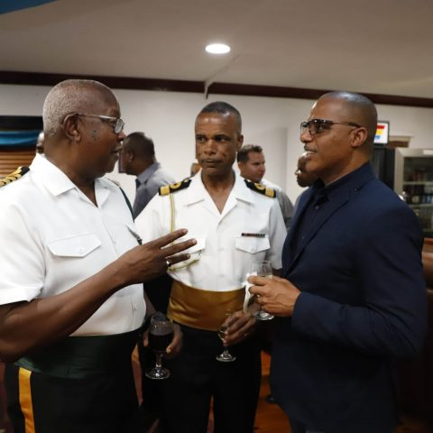 From Left: Principal Officer Captain Clyde Sawyer, The Commander Defence Force, Commodore Tellis A. Bethel and Minister of National Security, Honorable Marvin Dames at the RBDF Officers post-Independence Cocktail Reception on July 12, 2019.