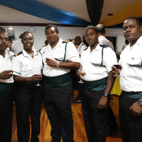 RBDF Officers at the post-Independence Cocktail Reception on July 12, 2019. From Left: Sub Lieutenant Miska Clarke, Sub Lieutenant Donella Mackey, Sub Lieutenant Thomas Thompson, Midshipman Tevin Williams and Sub Lieutenant Myran Sands.