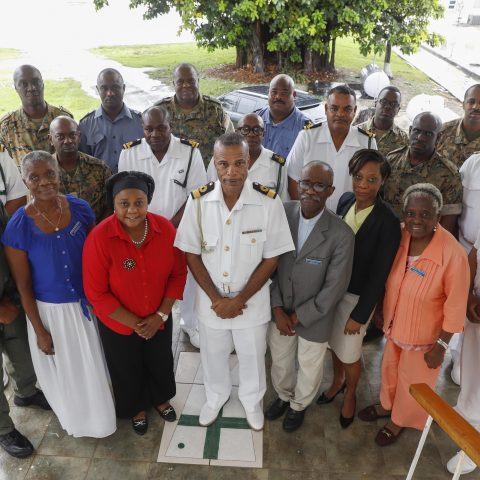 The Commander Defence Force, Commodore Tellis Bethel and his Senior Command along with the newly appointed Executive Committee Members of the British Legion – Bahamas Branch (BLBB) and representatives from the RBDF'Military Police and Force Protection Unit.