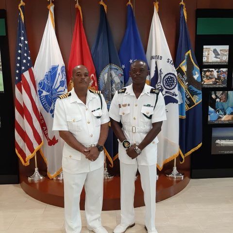 Commander Defence Force (Acting) Captain Raymond King and Command Warrant, Force Chief Petty Officer Oral Wood at the Caribbean Nations Security Conference