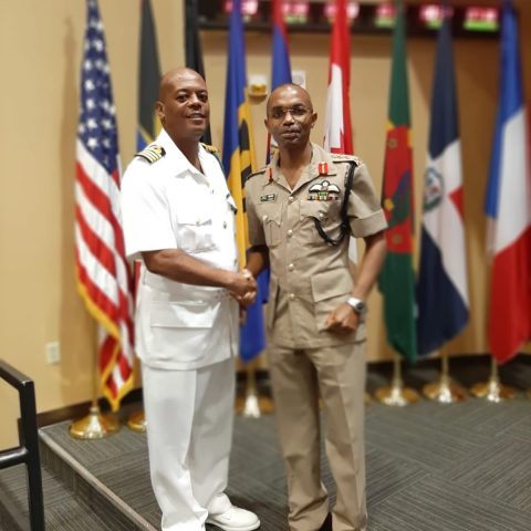 Commander Defence Force (Acting) Captain Raymond King and Lieutenant General Rocky Mead, Chief of Staff, Jamaica Defence Force at the Caribbean Nations Security Conference