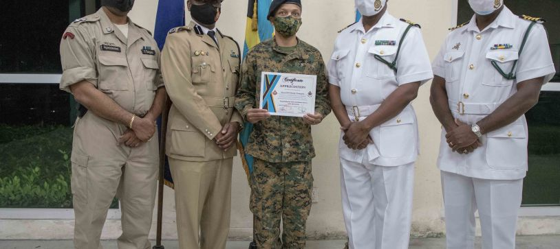 RBDF Personnel receive Certificates for Joint Curfew Operations.