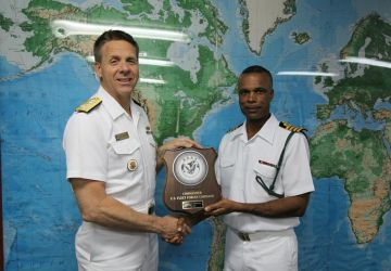 ADMIRAL PHILIP S. DAVIDSON MAKES COURTESY CALL ON RBDF BASE