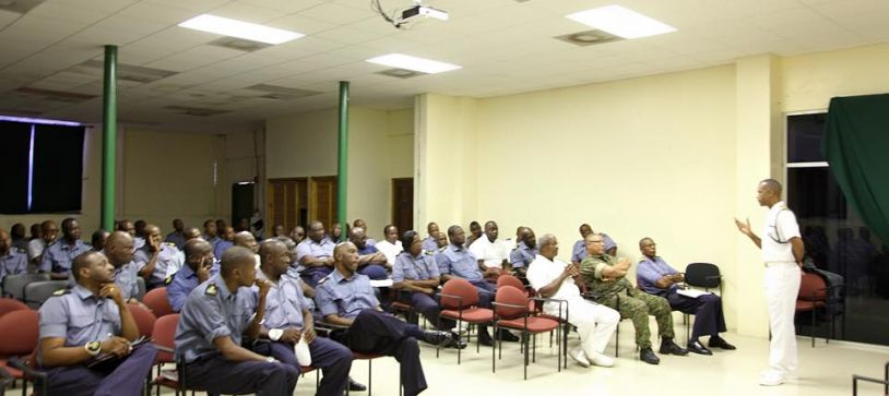 Acting Commander of Defence Force, Captain Tellis Bethel meets with Senior Enlisted