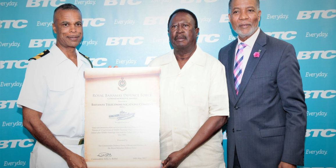 RBDF Commodore makes presentation to BTC CEO