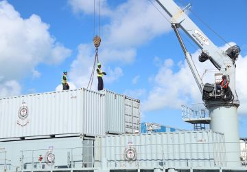 RBDF Container City arrives on the island of Abaco
