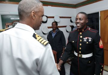 SERGEANT ANDREW SMITH, UNITED STATES MARINE CORPS (USMC) MAKES COURTESY CALL TO CORAL HARBOUR BASE
