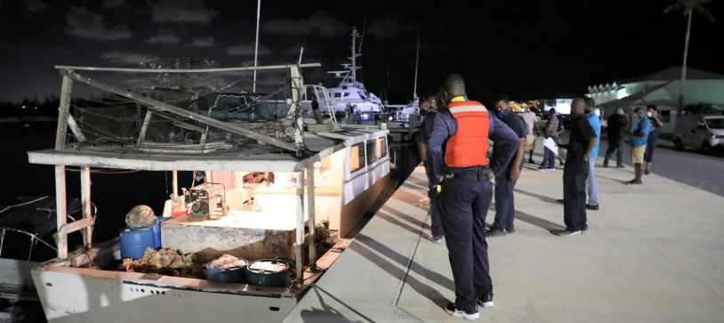 Bahamian Fishermen Brought in by RBDF for Fishing Violation