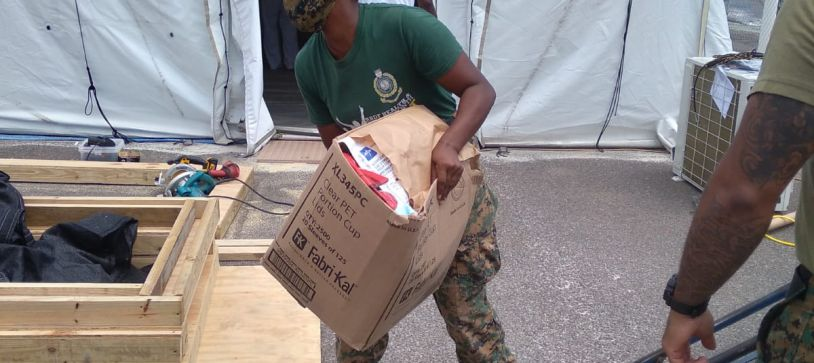 RBDF Personnel partners with Samaritans Purse to set up Medical Tents