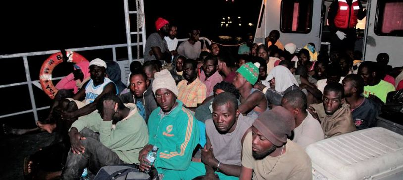 Haitian migrants onboard Defence Force patrol craft on March 15 at the Coral Harbour Base.