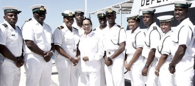 Her Excellency rides Aboard RBDF Craft